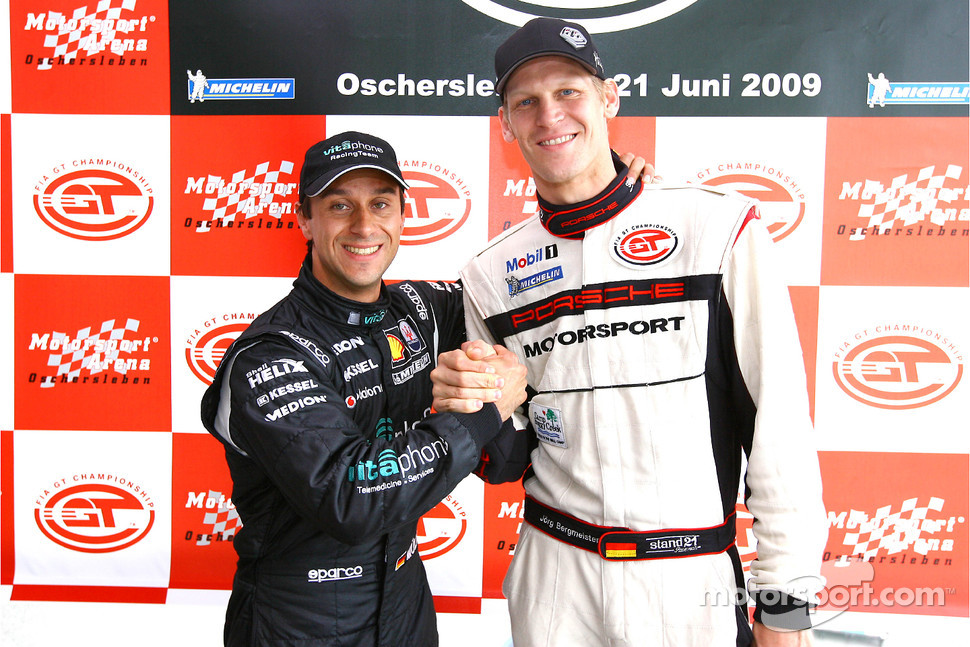 GT1 pole winner Alex Müller and GT2 pole winner Jorg Bergmeister