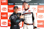 GT1 pole winner Alex Mller and GT2 pole winner Jorg Bergmeister