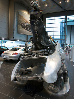 Porsche dealership on Porscheplatz: 'Moments of Movements' sculpture created by Jürgen Goertz