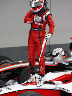 Nico Hulkenberg celebrates his victory