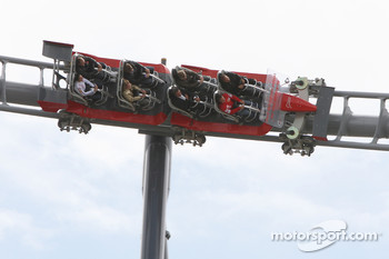 Michael Schumacher, Test Driver, Scuderia Ferrari, on the new rollercoaster, the Ring Racer