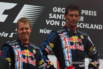 Podium: race winner Mark Webber, Red Bull Racing, second place Sebastian Vettel, Red Bull Racing