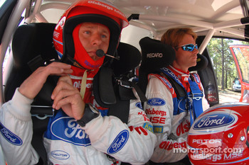 Co-driver Timo Alanne gets ready to tackle the Peak as driver Marcus Gronholm waits patiently for the command to start his run