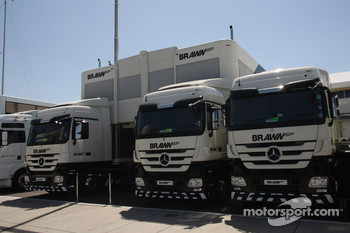 Brawn GP trucks