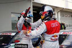 Race winner Martin Tomczyk, Audi Sport Team Abt Audi A4 DTM  celebrates with Mattias Ekström, Audi Sport Team Abt Audi A4 DTM
