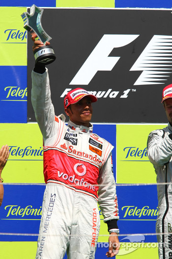 Podium: second place Lewis Hamilton, McLaren Mercedes