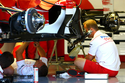Toyota F1 Team work on their car