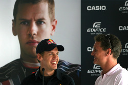 Sebastian Vettel, Red Bull Racing and David Coulthard, Red Bull Racing, Consultant during the Casio press conference