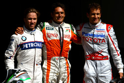 Giancarlo Fisichella, Force India F1 Team, VJM-02, Pole Position, 2nd, Jarno Trulli, Toyota F1 Team, 3rd, Nick Heidfeld, BMW Sauber F1 Team