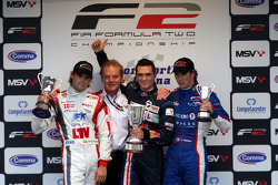 Andy Soucek, Jonathan Palmer Motorsport Vision Chief Executive, Mikhail Aleshin and Julien Jousse on the podium
