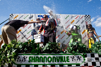 Steve Crevier gets a shower on the podium