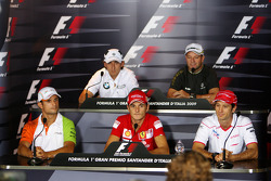 FIA press conference: Vitantonio Liuzzi, Force India F1 Team, Robert Kubica, BMW Sauber F1 Team, Giancarlo Fisichella, Scuderia Ferrari, Rubens Barrichello, BrawnGP, Jarno Trulli, Toyota F1 Team