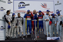LMP1 podium: class and overall winners Olivier Panis and Nicolas Lapierre, second place Andrea Belicchi, Marcel Fassler and Nicolas Prost, third place Jan Charouz, Tomas Enge and Stefan Mücke