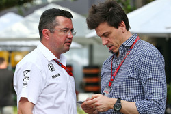 Eric Boullier, McLaren Racing Director with Toto Wolff, Mercedes AMG F1 Shareholder and Executive Director