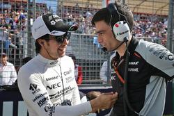 Sergio Perez, Sahara Force India F1 on the grid with Tim Wright, Sahara Force India F1 Team Race Engineer