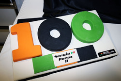 The Sahara Force India F1 Team celebrate 100 Grands Prix with a cake for Sergio Perez, Sahara Force India F1