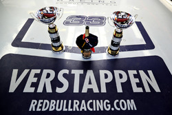 The winning trophies of Max Verstappen, Red Bull Racing