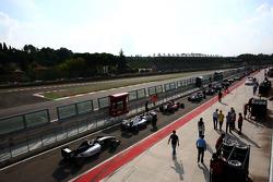 Cars in pit lane