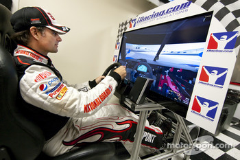 Jeff Gordon, Hendrick Motorsports Chevrolet plays a video game in the media center before qualifying