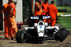 The car of Jens Hoing in the gravel trap