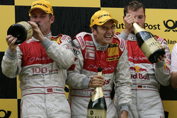 Podium: race winner Timo Scheider, Audi Sport Team Abt, second place Tom Kristensen, Audi Sport Team Abt, third place Martin Tomczyk, Audi Sport Team Abt