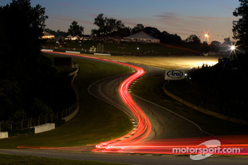 Trailing lights at the Esses