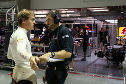 Sebastian Vettel, Red Bull Racing and Guillaume Rocquelin, Red Bull Racing Race Engineer of Sebastian Vettel