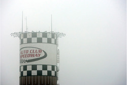 The Auto Club Speedway wakes up to fog