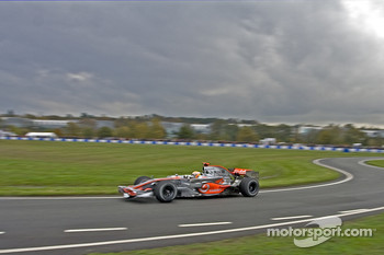 Lewis Hamilton demonstrates his Mclaren MP423