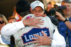 Victory lane: race winner Jimmie Johnson, Hendrick Motorsports Chevrolet celebrates with Rick Hendrick