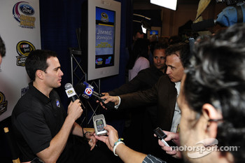 NASCAR championship contenders press conference in Coral Gables: Jimmie Johnson, Hendrick Motorsports Chevrolet talks with media
