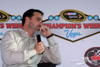 Four time NASCAR Sprint Cup Series Champion Jimmie Johnson arrives at Las Vegas Motor Speedway for the Champions Roast