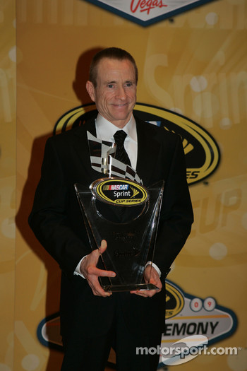 Mark Martin with his award for second place in the Chase for the NASCAR Sprint Cup