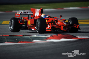 Felipe Massa tests the Ferrari F2008