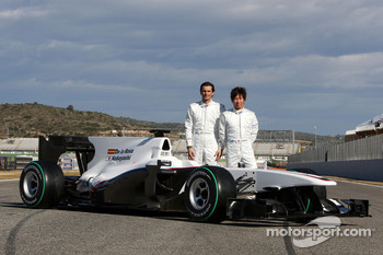 Pedro de la Rosa, BMW Sauber F1 Team and Kamui Kobayashi, BMW Sauber F1 Team with the C29