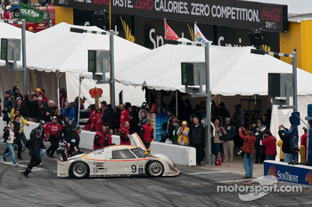 The winning car #9 Action Express Racing Porsche Riley: Joao Barbosa, Terry Borcheller, Ryan Dalziel, Mike Rockenfeller heads to victory lane