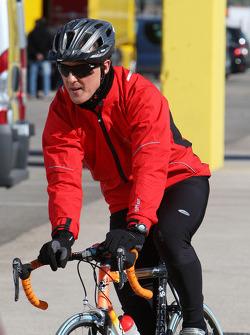 Michael Schumacher, Mercedes GP, returns from a bike ride