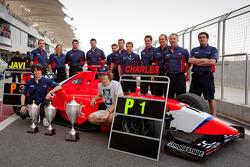 The Arden International team celebrate a 1 - 3 finish