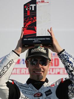 Podium: race winner Jake Zemke