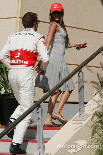 Jenson Button, McLaren Mercedes with his girlfriend Jessica Michibata