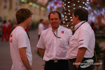 Sebastian Vettel, Red Bull Racing talks with Willy Rampf, BMW-Sauber, Technical Director and Norbert Haug, Mercedes, Motorsport chief