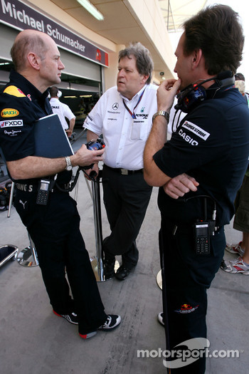 Adrian Newey, Red Bull Racing, Technical Operations Director, Norbert Haug, Mercedes, Motorsport chief and Christian Horner, Red Bull Racing, Sporting Director