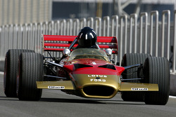 Damon Hill, 1996 F1 World Champion drives the 1968 Lotus 49B