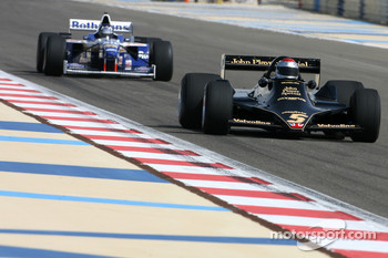 Mario Andretti, 1978 F1 World Champion drives the 1978 Lotus 79 and Damon Hill, 1996 F1 World Champion drives the 1996 Williams Renault FW18