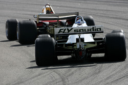 Jody Scheckter, 1979 F1 World Champion drives the 1979 Ferrari 312 T4 and Keke Rosberg, 1982 F1 World Champion drives the 1982 Williams FW08