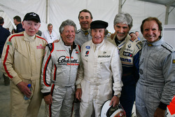 John Surtees, with Mario Andretti, Nigel Mansell, Sir Jackie Stewart, RBS Representitive and Ex F1 World Champion, Damon Hill and Emerson Fittipaldi