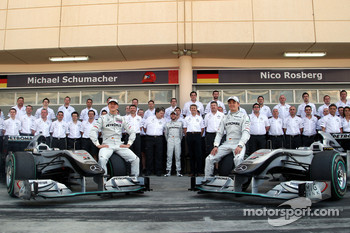 Mercedes GP team photo Michael Schumacher, Nick Fry, Chief Executive Officer, Mercedes GP, Norbert Haug, Mercedes, Motorsport chief, Nick Heidfeld, Test Driver, Mercedes GP, Ross Brawn Team Principal, Mercedes GP, Mercedes GP, Nico Rosberg, Mercedes GP