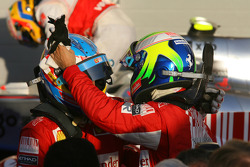 Race winner Fernando Alonso, Scuderia Ferrari celebrates with second place Felipe Massa, Scuderia Ferrari