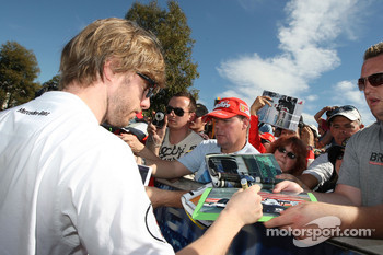 Nico Hulkenberg, Williams F1 Team, signs autographs
