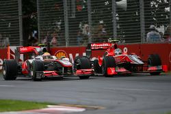Lewis Hamilton, McLaren Mercedes and Lucas di Grassi, Virgin Racing